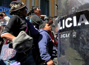Demonstrators with physical disabilities participate in a rally protest demanding the government for a monthly subsidy, in La Paz