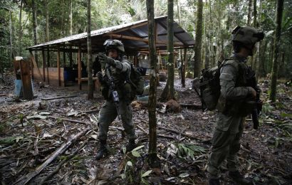 Colombian drug squad members in action
